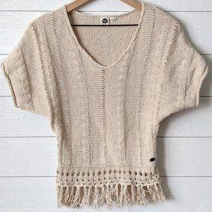 Roxy Cream Fringe Hem Sweater S